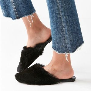 Urban Outfitters Black Faux Fur Slip On Mules